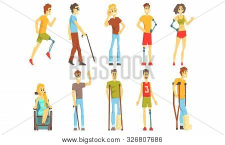 Cheerful Disabled Handicapped People Set, Blind, Deaf, Injured And Handicapped Persons Vector Illust