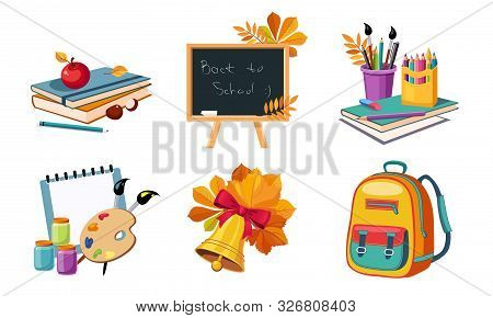 Back To School Elements Set, Different School Supplies And Stationeries Vector Illustration
