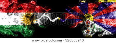 Kurdistan Vs Tibet, Tibetan Smoke Flags Placed Side By Side. Thick Colored Silky Smoke Flags Of Kurd
