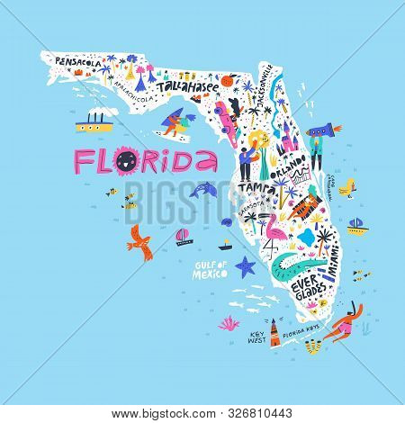 Florida State Color Map Flat Vector Illustration. American City Names Handwritten Lettering. Us Tour