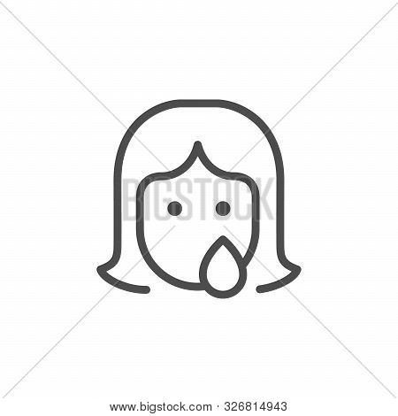 Woman Abuse And Discrimination Line Outline Icon Isolated On White. Female Cry Face Contour. Sexual