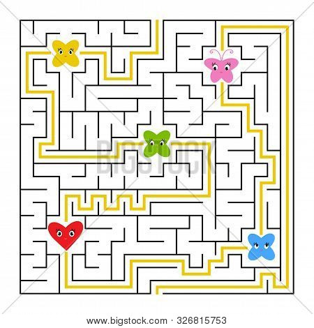 A Square Labyrinth. Collect All Fairy Toon And Find A Way Out Of The Maze. Simple Flat Isolated Vect