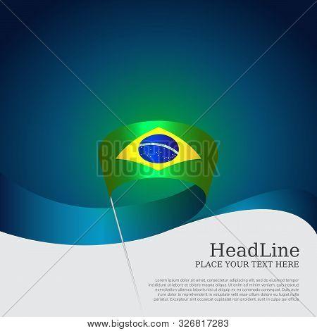 Brazil Flag Background. Wavy Ribbon Color Flag Of Brazil On Blue White Background. National Poster.