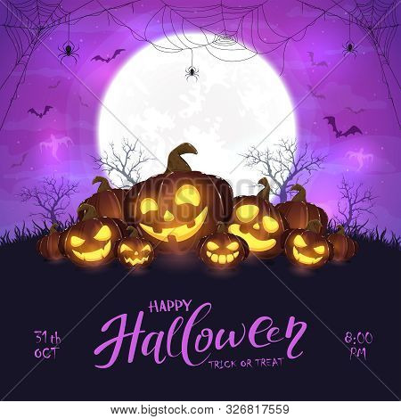 Halloween Pumpkins And Spiders On Purple Background
