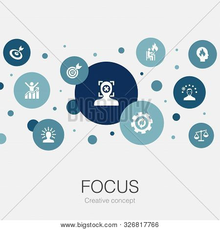 Focus Trendy Circle Template With Simple Icons. Contains Such Elements As Target, Motivation, Integr
