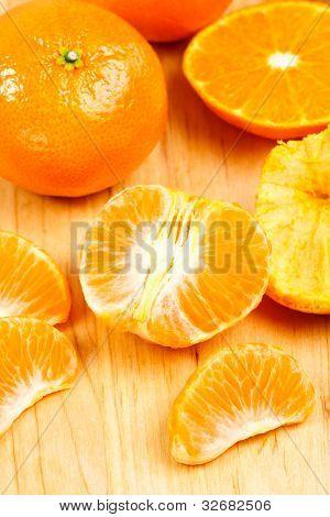 Mandarin Orange Sections On Cutting Board