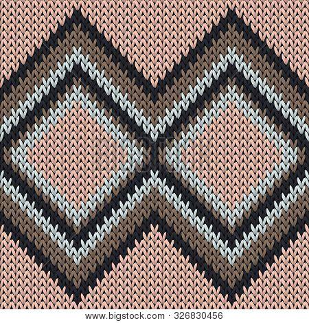 Fairisle Rhombus Argyle Knitted Texture Geometric Vector Seamless. Blanket Knitwear Structure Imitat