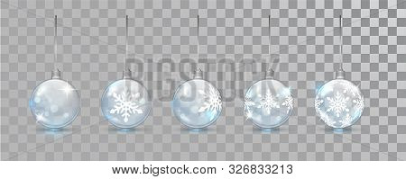 Glass New Year Balls Set With Snowflake Pattern On A Transparent Background. Christmas Bauble For De