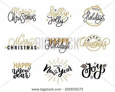 Merry Christmas, Holly Jolly Quote, Happy Holidays And New Year, Joy Greeting Cards Design, Letterin