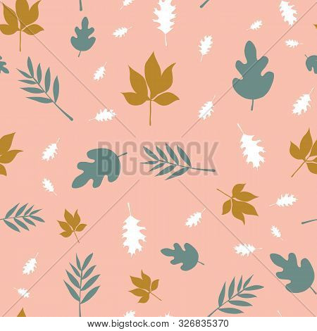 Scattered Fall Leaves Seamless Vector Background. Abstract Fall Pattern Pink Teal White Gold Brown.