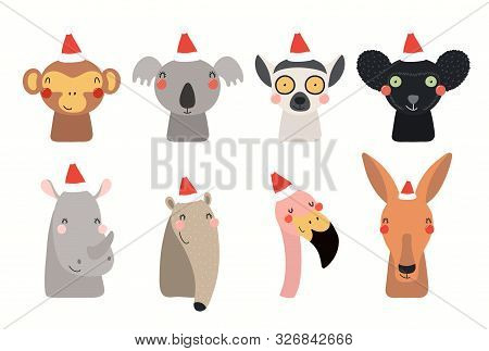 Christmas Set With Cute Animals In Santa Claus Hats. Isolated Objects On White Background. Hand Draw
