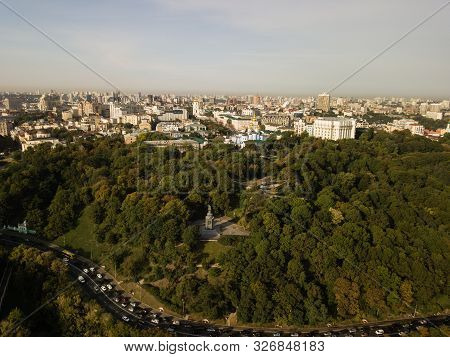 Travel To Ukraine - Aerial View To Saint Vladimir Monument In Kiev City And View Of Urban Park Volod