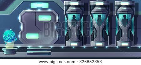 Human Cloning Cartoon With Female And Male Human Beings Growing In Glass Capsules In Laboratory Illu