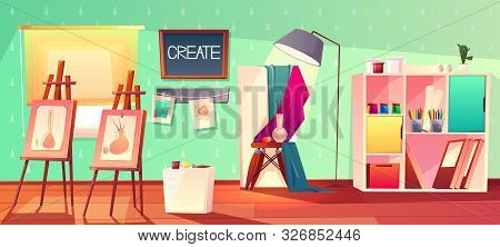 Art Studio Interior. Creative Workshop Room With Canvas, Paints And Pictures. Design Salon For Artis