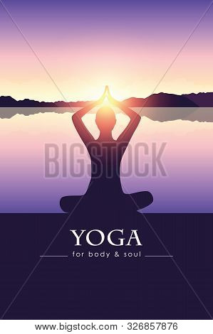 Yoga For Body And Soul Meditating Person Silhouette By The Lake With Mountain Landscape Vector Illus