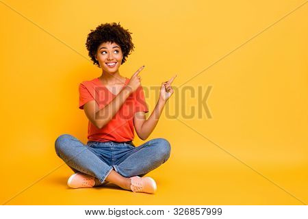 Copyspace Photo Of Charming Cheerful Attractive Gorgeous Girlfriend Sitting With Legs Crossed Wearin