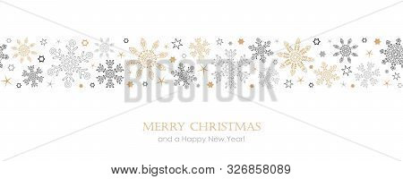 Christmas Card With Seamless Pattern Snowflake Border Vector Illustration Eps10