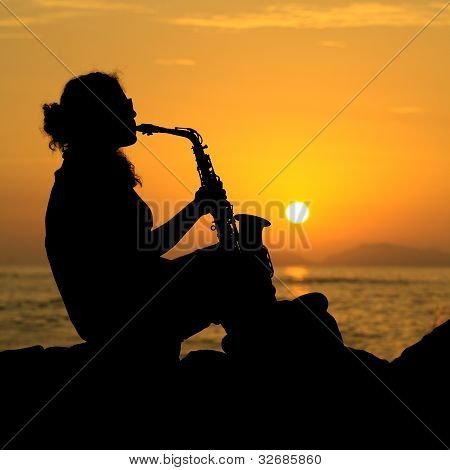 Woman Playing the Saxophone