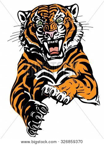 Angry Leaping Tiger. Jumping Big Cat. Front View. Isolated Tattoo Style Vector Illustration
