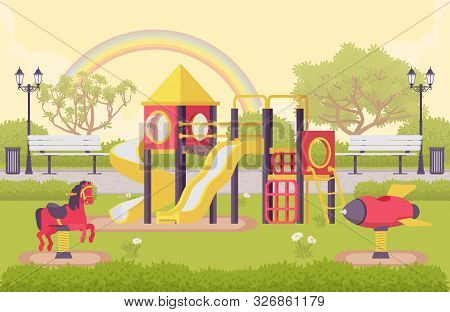 Playground Structure, Outdoor Decor Idea Of School Or Public Park With Equipment For Recreation, Kid