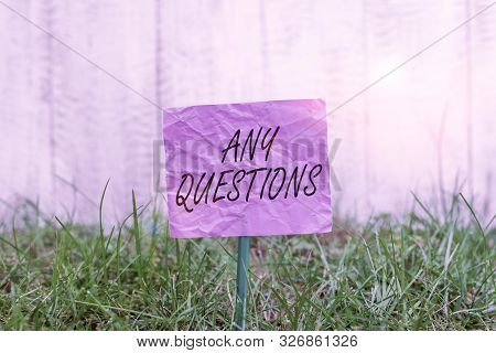 Conceptual hand writing showing Any Questions. Business photo text Clueless Blank face Inquiry Disputes Probes Issues Riddles Plain paper attached to stick and placed in the grassy land. poster