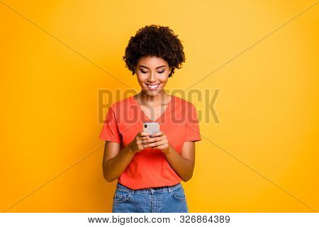 Photo Of Charming Cheerful Trendy Attractive Cute Youngster Browsing Through Her Social Media Profil