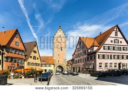 Dinkelsbuehl, Germany - July 29, 2009: Romantic Dinkelsbuehl, City Of Late Middleages And Timbered H