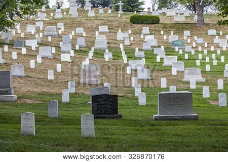 Washington, Usa - July 15, 2010:  Gravestones On Arlington National Cemetery  In Washington Dc, Usa.