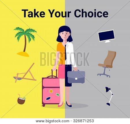 Choice Freelance Vs Office Work Concept. Comparing Remote Work With Freelance Working Place. Flat Ch