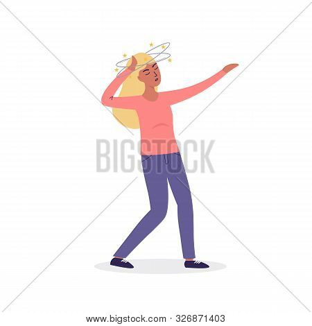 Flat Cartoon Vector Woman Character Fainting, Dizziness. Isolated Illustration On White Background.