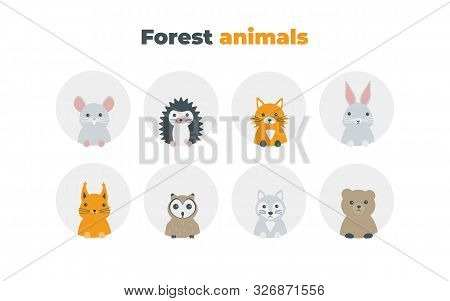 Forest Animals Set In Flat Style Isolated On White Background. Cute Cartoon Wild Animals Avatars Col