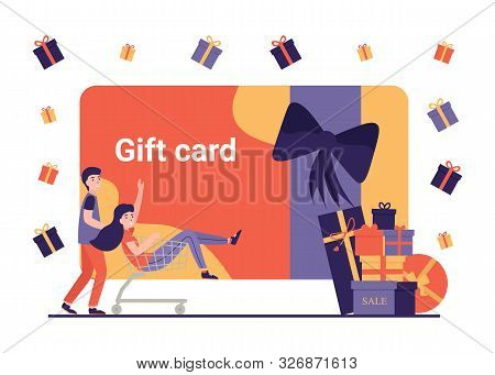 Gift Card And Promotion. Happy People Doing Online Shopping With Discount Coupon And Gift Certificat