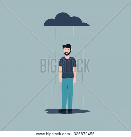 Sad Male Character Standing Under The Rain. Overcast Weather. Emotions. Solitude Concept. Flat Vecto