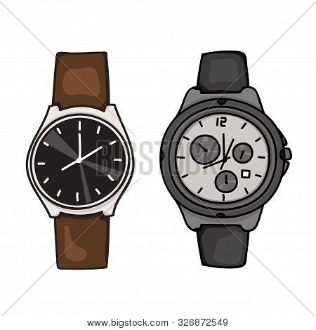 Vector Design Of Two Watches For Men And Women Isolated From A White Background. Wristwatch Icon Iso
