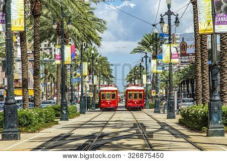 New Orleans, Usa - July 17: New Orleans Streetcar Line, July 17, 2013. Newly Revamped After Hurrican