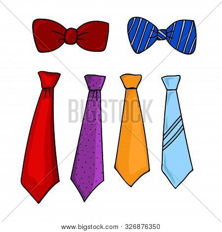 Neck Tie And Bow Tie, Flat Design Trendy Tie Collection Isolated White Background. Tie Icon Isolated