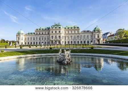 Vienna, Austria - Apr 25, 2015: Belvedere Palace In Summer In Vienna, Austria, Vienna, Austria