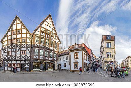 Erfurt, Germany - Dec 20, 2015: Famous Erfurt Evening View Of The Famous Kraemerbruecke. The Kramerb