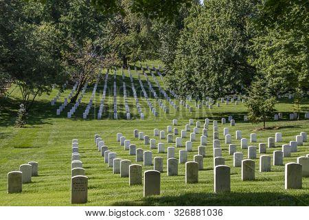 Arlington, Usa - Aug 10, 2017: Gravestones On Arlington National Cemetery In Washington Dc, Usa. Hea