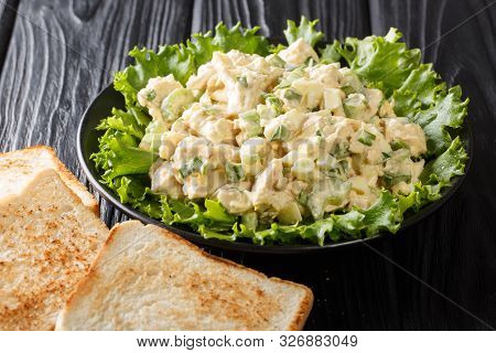 Traditional American Chicken Salad Served With Toast Closeup On A Plate. Horizontal