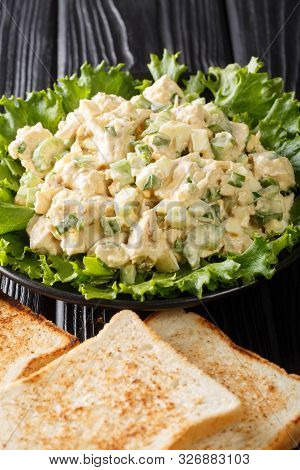 Southern Chicken Salad With Celery, Eggs And Green Onions With Toast Close-up On A Plate. Vertical
