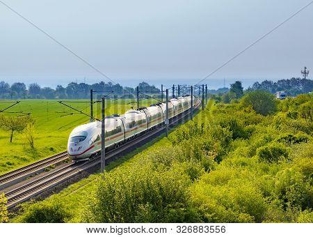 Raunheim, Germany - Apr 21, 2018: German High Speed Train Intercity Express (ice) Train Of Deutsche