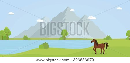 Wild Nature Reserve Flat Vector Illustration. Beautiful Countryside Landscape, Scenic Panorama With