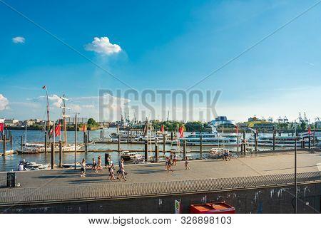 HAMBURG, GERMANY - JULY 24, 2018 : Street view of Cruise ship in the harbor, Hamburg, Germany.