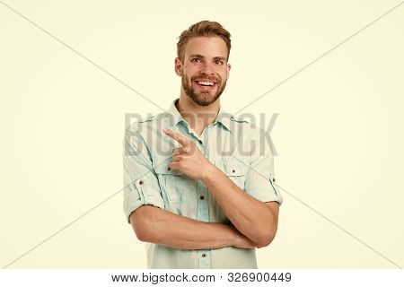 Find Solution. Man With Bristle Smiling Face White Background. Guy Happy Find Solution. Achieve Succ