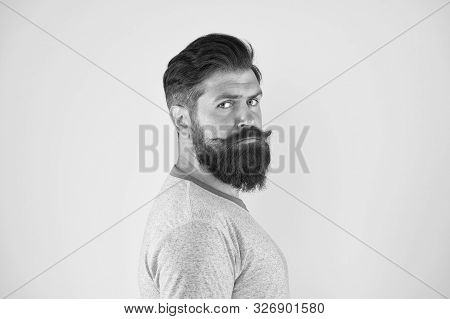 Grow Mustache. Man Bearded Hipster With Mustache. Beard And Mustache Grooming Guide. Hipster Handsom
