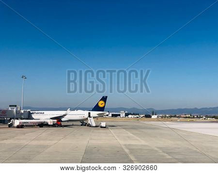 SOFIA, BULGARIA - OCTOBER 9, 2019: An Airbus A320 jet aircraft operated by Lufthansa at Sofia International Airport in Bulgaria.