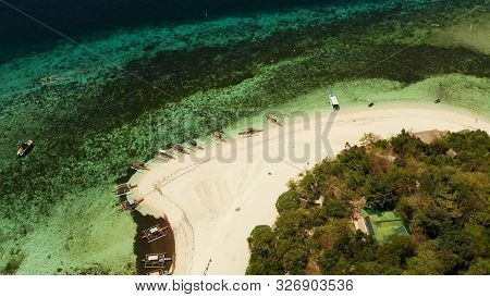 Tropical Island With Sandy Beach With Atoll And Coral Reef, Aerial Drone. Island On Turquoise Atoll.