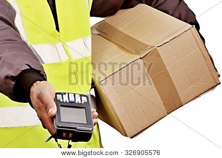 Delivery Man With Parcel For Customer Stock Photo