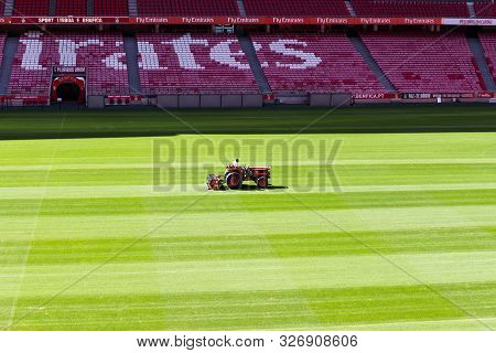 October 6th, 2019, Lisbon, Portugal - Natural Grass Pitch Maintenance Being Done At Stadium Of Sport